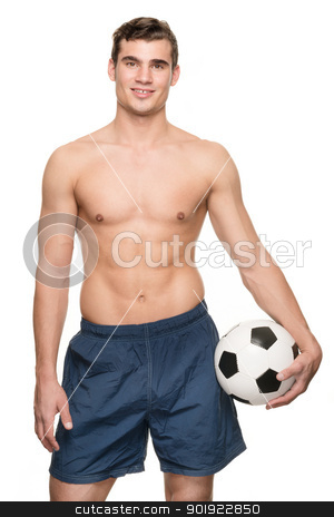 Soccer player stock photo, Young soccer player with ball in front of white background by Picturehunter