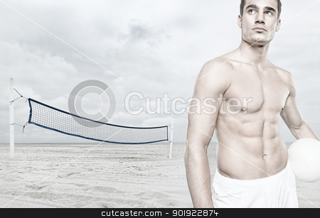 Volleyball player stock photo, Young volleyball player at the beach by Picturehunter