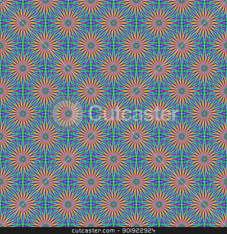 Seamless Flower Star stock photo, Digital abstract image with a tiled seamless star flower design in green, blue, pink and orange. by Colin Forrest