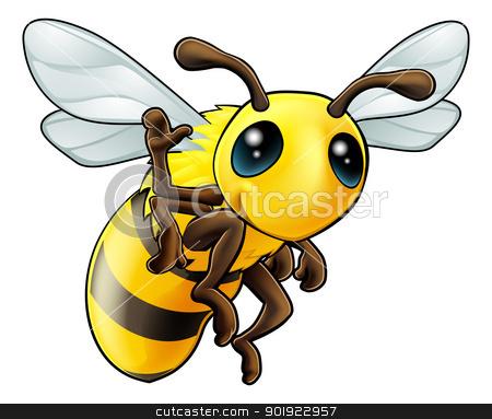 Happy waving cartoon bee stock vector clipart, Illustration of a cute happy waving cartoon bee character by Christos Georghiou