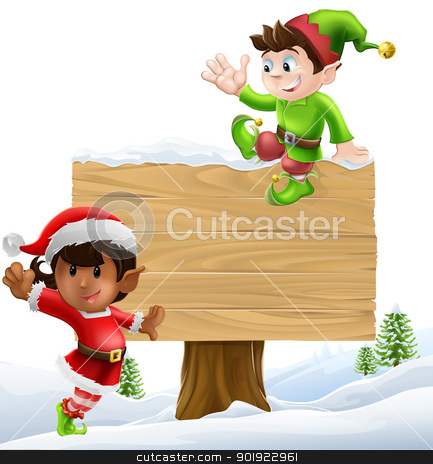Christmas signillustration stock vector clipart, Cute elves one leaning on and one sitting on a Christmas sign in a winter landscape  by Christos Georghiou