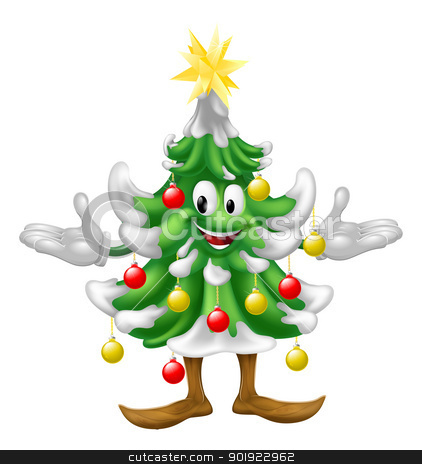 Decorated Christmas Tree man stock vector clipart, A decorated cartoon Christmas tree man with baubles and a star on top by Christos Georghiou
