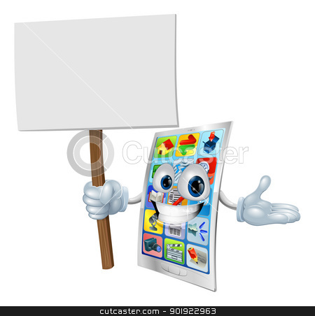 Cell phone cartoon character holding sign stock vector clipart, Metal cell phone cartoon character holding up a sign by Christos Georghiou