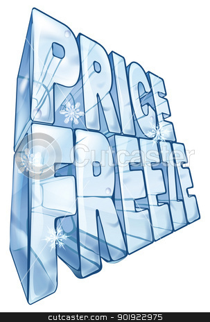 Price freeze sale illustration stock vector clipart, Illustration of the words price freeze like a big frozen ice cube to market a sale. With snowflakes falling in foreground. by Christos Georghiou