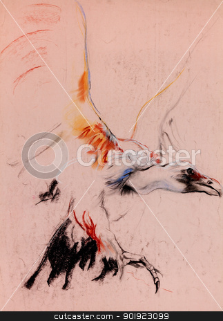 Vulture sketch stock photo, Old,grunge original pastel and  hand drawn sketch of a vulture(condor,scavenging bird).Free composition by borojoint