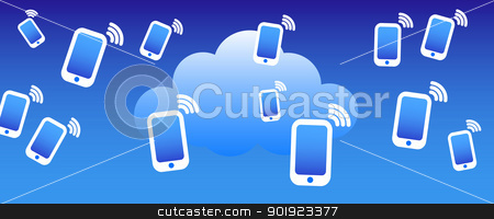 Cloud Phone Background stock vector clipart, Phone mobile communicating with the cloud concept by Fenton