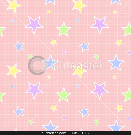 Seamless Pastel Star Pattern stock photo, Various colors and sizes of stars on pink background with small crosshatch pattern by SongPixels