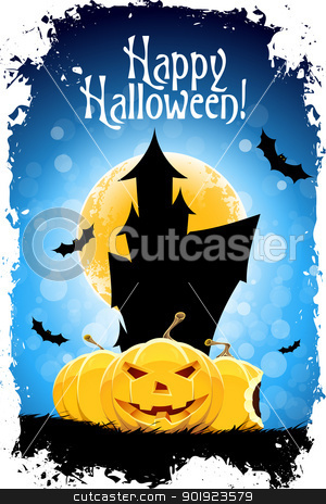 Happy Halloween Card stock vector clipart, Abstract Blue Halloween Card with Message