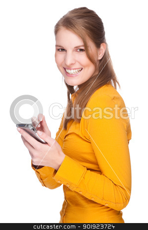 Woman with PDA stock photo, Full isolated studio picture from a young woman with pda (smartphone) by Picturehunter