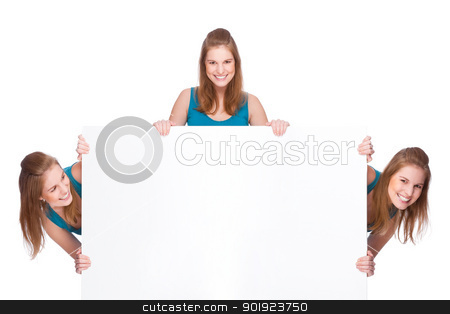 Women with banner stock photo, Full isolated studio picture from three young women with white copyspace sign (banner) by Picturehunter