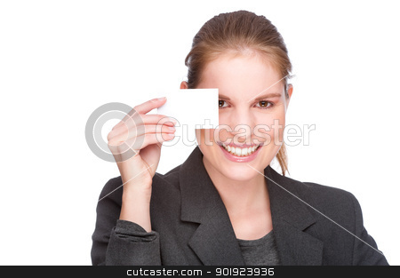 Businesswoman with business card stock photo, Full isolated studio picture from a young and beautiful business woman with business card by Picturehunter