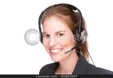 Female callcenter employee stock photo, Full isolated studio picture from a young and beautiful callcenter agent by Picturehunter