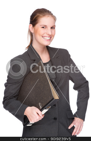 Businesswoman with file stock photo, Full isolated studio picture from a young and beautiful business woman with folder by Picturehunter