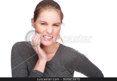 Toothache stock photo, Full isolated studio picture from a young woman with toothache by Picturehunter