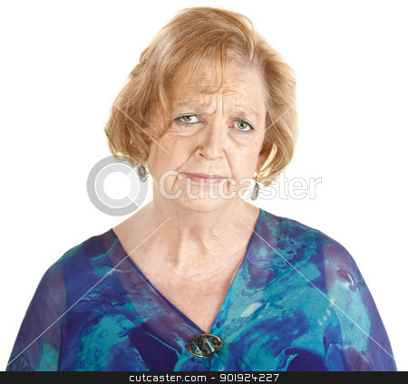 Sad Mature Woman stock photo, Sad elderly European woman in blue over white background by Scott Griessel