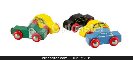 Old retro toy cars isolated on white  stock photo, Old retro toy cars isolated on white background. Colorful objects.  by sauletas