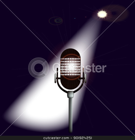 Spotlit Microphone stock vector clipart, A single spotlit microphone on stage. by Kotto