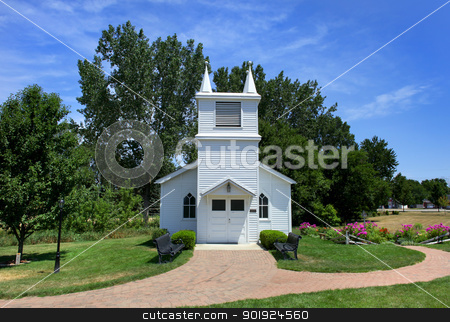 Small church stock photo, Small historic church in South Lyon downtown Michigan by Sreedhar Yedlapati