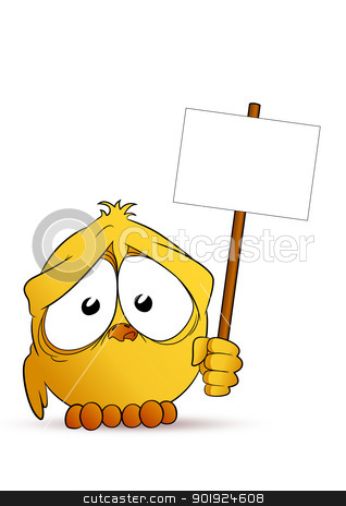 Chick with signboard stock vector clipart, Little sweet chick with signboard by Seyyah