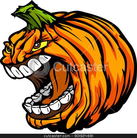 Screaming Halloween Jack-O-Lantern Pumpkin Head Cartoon Vector I stock vector clipart, Cartoon Vector Image of a Scary Screaming Halloween Pumkin Jack O Lantern Head by chromaco
