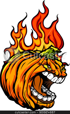 Screaming Halloween Jack-O-Lantern Pumpkin Head with Flames for  stock vector clipart, Cartoon Vector Image of a Scary Flaming Halloween Pumkin Jack O Lantern Head with Screaming Expression by chromaco