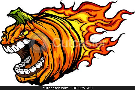 Screaming Halloween Jack-O-Lantern Pumpkin Head with Flames Cart stock vector clipart, Cartoon Vector Image of a Scary Flaming Halloween Pumkin Jack O Lantern Head with Screaming Expression by chromaco