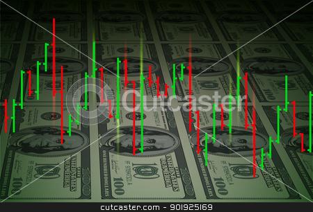 Exchange chart background stock photo, Exchange chart on dollars background. Illustration for design by dvarg