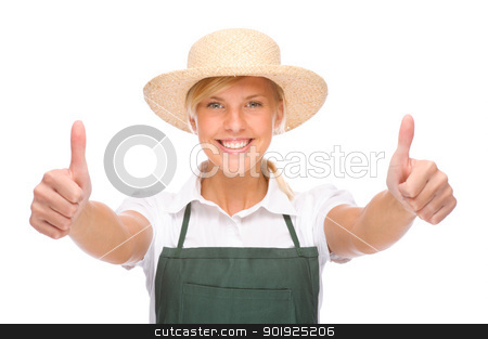 Young gardener stock photo, Full isolated portrait of a beautiful caucasian gardener by Picturehunter