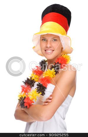 German soccer fan stock photo, Full isolated portrait of a beautiful german soccer fan by Picturehunter