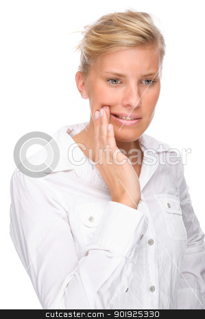 Woman with toothache stock photo, Full isolated portrait of a caucasian woman with toothache by Picturehunter