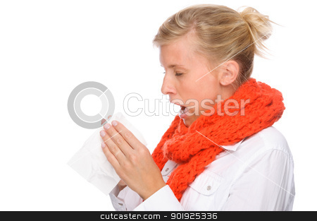 Woman with handkerchief stock photo, Full isolated portrait of a caucasian woman with handkerchief by Picturehunter
