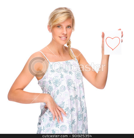 Woman with love letter stock photo, Full isolated portrait of a caucasian woman with love letter by Picturehunter