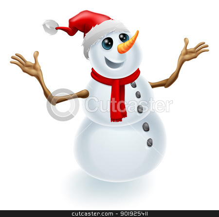 Christmas Snowman Wearing Santa Hat stock vector clipart, A cute happy Christmas snowman wearing a Santa hat and scarf by Christos Georghiou