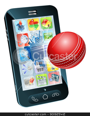 Cricket ball flying out of mobile phone stock vector clipart, Illustration of an cricket ball flying out of mobile phone screen by Christos Georghiou