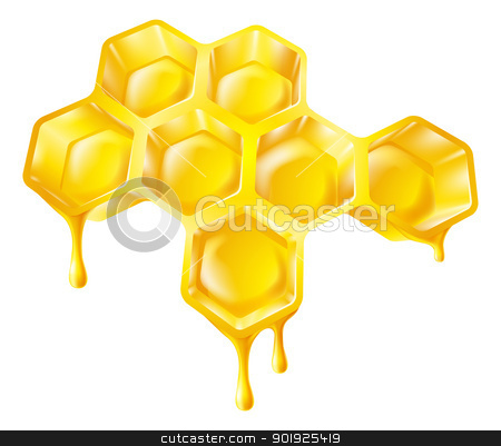 Honeycomb with dripping honey stock vector clipart, Illustration of bee's honeycomb with honey dripping off it by Christos Georghiou