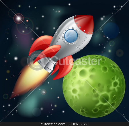 Cartoon rocket in space stock vector clipart, Illustration of a cartoon rocket spaceship with space background and planets and stars by Christos Georghiou