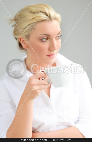 Woman with cup stock photo, Portrait of a beautiful woman with cup by Picturehunter