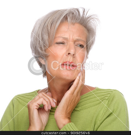 Toothache stock photo, Full isolated portrait of a senior woman with toothache by Picturehunter