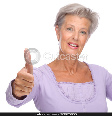 Senior woman stock photo, Full isolated portrait of a beautiful and happy senior woman by Picturehunter