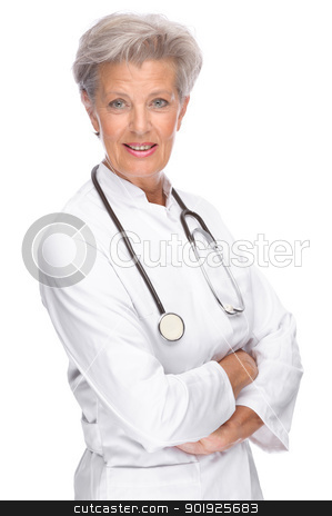 Senior doctor stock photo, Full isolated portrait of a beautiful senior doctor by Picturehunter