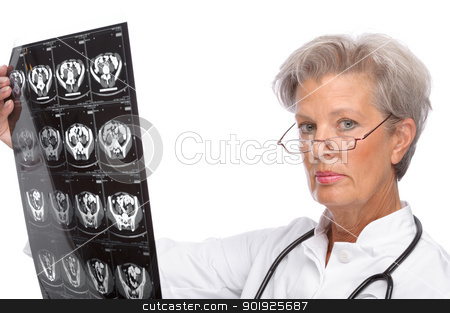 Senior doctor stock photo, Full isolated portrait of a beautiful senior doctor with x-ray by Picturehunter