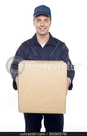 Please accept your courier sir stock photo, Please accept your courier sir. Guy delivering carton by Ishay Botbol