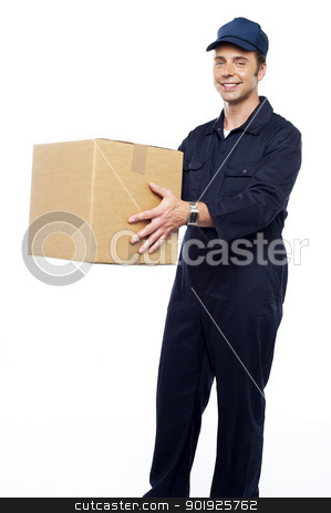 Worker unloading and loading carton stock photo, Worker unloading and loading carton isolated against white by Ishay Botbol