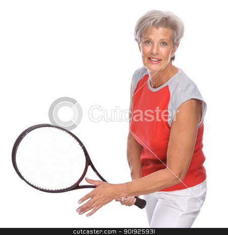 Active Senior stock photo, Full isolated studio portrait of a active senior woman by Picturehunter