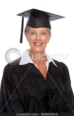 Graduate stock photo, Full isolated portrait of a active senior graduate by Picturehunter