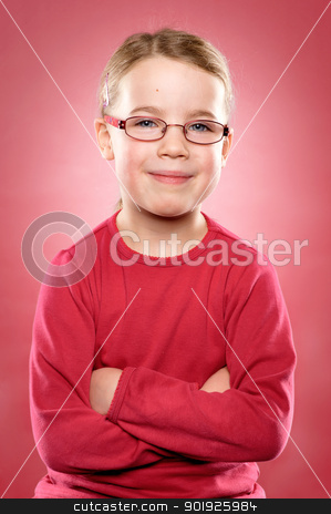 Little girl stock photo, Studio picture from a little and happy girl by Picturehunter