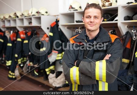 Firefighter stock photo, Picture from a young and successful firefighter at work by Picturehunter