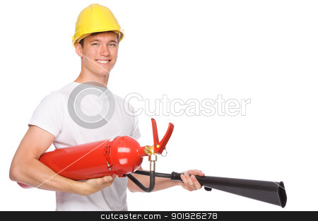 Man with extinguisher stock photo, Full isolated studio picture from a young man with extinguisher by Picturehunter