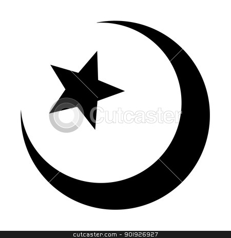 Islamic Muslim sign stock photo, Religious Islamic Star and Crescent Muslim sign isolated on a white background. by Martin Crowdy