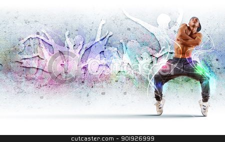 young man dancing hip hop with color lines stock photo, young man in a blue cap dancing hip hop - collage by Sergey Nivens